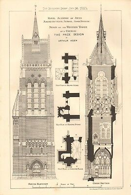 1883 Antique Architecture, Design Print- Design For Western Tower Of Church