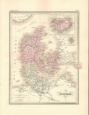 1880 Ca ANTIQUE MAP- MALTE-BRUN- DENMARK AND ICELAND