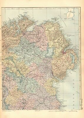 1892 Large Victorian  Map- Ireland North East, Londonderry,Belfast,Dundalk