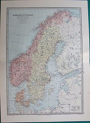 1886 Antique Map- Sweden & Norway, Denmark And The Baltic