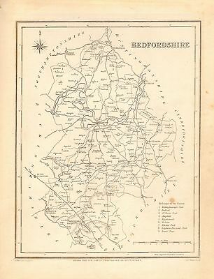 1842 Antique County Map- Bedfordshire, Ampthill,Woburn,Dunstable,Kimbolton,Luton