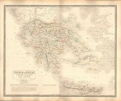 1844 Large Antique Map- Johnston - Greece Or Hellas, Ionian Islands And Crete