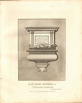 1791 Antique Print- Architecture- London - Monument,St Mary's Overie's,Southwark