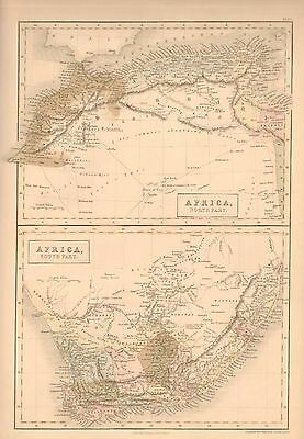 1850 Antique Map-North Africa, South Africa