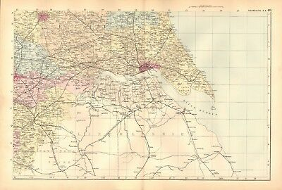 1892 Large Victorian  Map- Yorkshire South East,Doncaster,Hull,York,Hornsea