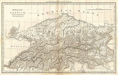 1807 Antique Map-Rees Ancient Geography- Rhaetia Et Noricum, Switzerland, Macphe