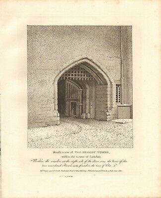 1798 Antique Print- Architecture- London - South View Of The Bloody Tower