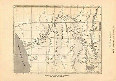 1878 Antique Map- Africa - Stanley- Country Traversed By Mr Stanley