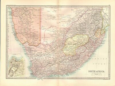 1890 Antique Map - South Africa, Cape Town