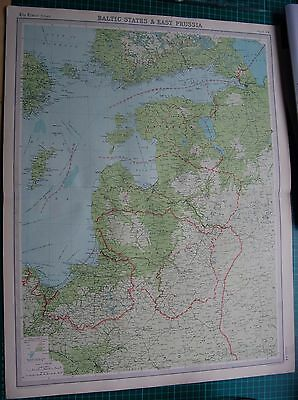 1922 Large Antique Map- Baltic States & Eastern Prussia