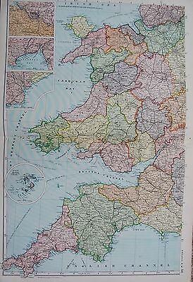 1906 Large Map English Counties Railways England South West Wales Cornwall Scill