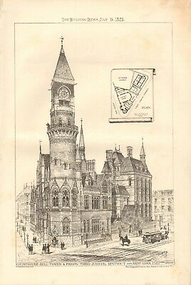 1875 Antique Print- Architecture - Usa -Court House Bell Tower & Prison New York
