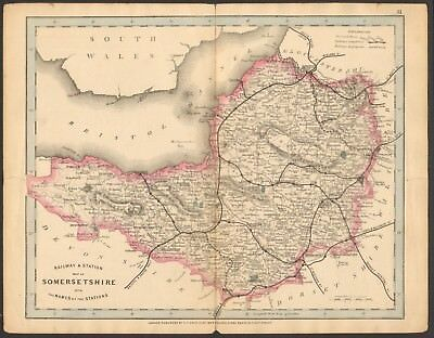 1864 Antique Map- Railway And Stations, Somerset, Taunton, Frome, Porlock