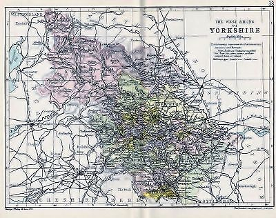 1889 Antique County Map Parliamentary Div. Yorkshire West Riding