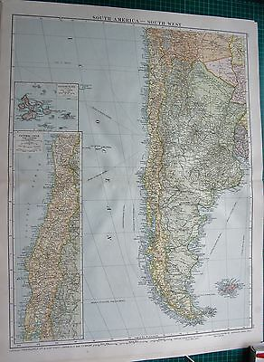 1919 Large Antique Map-South America-South West, Falklands,Galapagos
