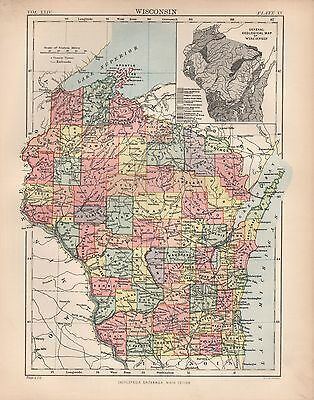 1880 ca ANTIQUE STATE MAP-USA-WISCONSIN