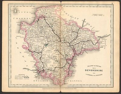 1864 Antique Map- Railway And Stations, Devonshire, Crediton,Exeter,Plymouth