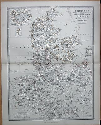 1874  Large Antique Map - Johnston- Denmark With Nw Portion Of German Empire