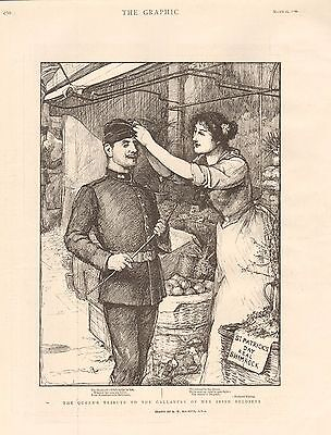 1900 Antique Print - Boer War- Queen's Tribute To Gallantry Of  Irish Soldiers