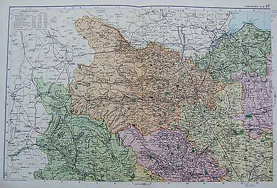 1906 Large Map English Counties Railways Yorkshire North West Richmond Settle