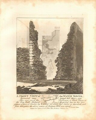 1792 Antique Print- Architecture- London - Front View Of The Watch Tower
