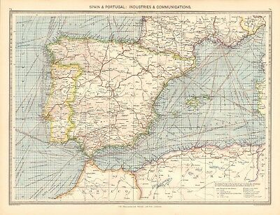 1907  Large Antique Map - Spain & Portugal: Industries & Communications