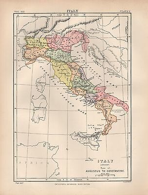 1880 ca ANTIQUE MAP- ITALY TIME OF AUGUSTUS TO CONSTANTINE