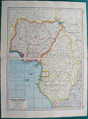 1920 Map World War 1- Africa-Nigeria, Cameroons & French Congo