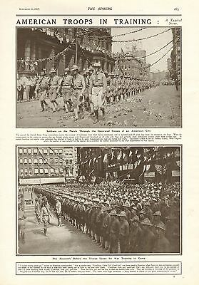 1917 Antique Print- Ww1-American Troops In Training