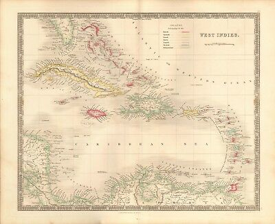 1843 Antique Map- Dower - West Indies