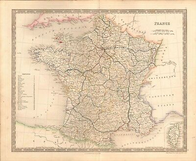 1843 Antique Map- Dower - France, With Provinces, Corsica