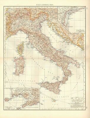 1900 Antique Map-Italy,Sicily,Sardinia, Insets Lagoons Of Venice,Naples Environs