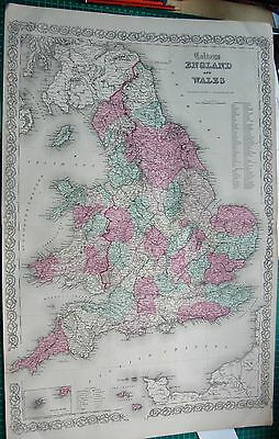1855 Large Antique Map-Colton- England And Wales