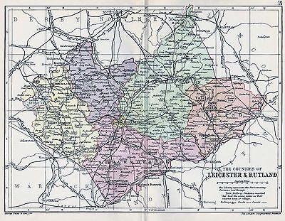 1889 Antique County Map Parliamentary Div. Leicester And Rutland