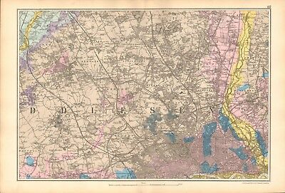 1906 Large Map-Bacon  - Environs Of London Geological, North West