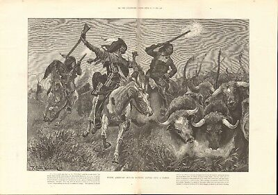 1891 Antique Print - North American Indians Running Cattle Into A Ranch