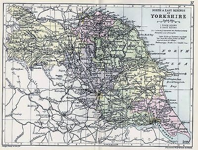 1889 Antique County Map Parliamentary Div.yorkshire North And East Ridings