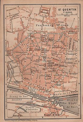 1905 Baedeker Old Town Plan-France-St Quentin