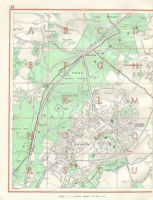 1964  Vintage Street Map -  Loughton, Debden Estate, High Beech