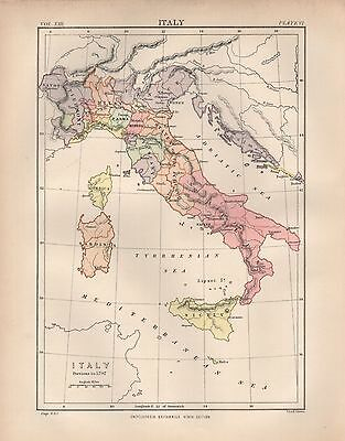 1880 ca ANTIQUE MAP- ITALY PREVIOUS TO 1797