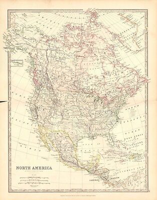 1880 Antique Map - North America, Central America, West Indies