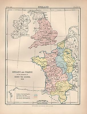 1880 ca ANTIQUE MAP-EMGLAND AND FRANCE AT ACCESSION OF HENRY SECOND IN 1154