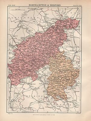 1880 ca ANTIQUE COUNTY MAP-NORTHAMPTON & BEDFORD,DAVENTRY,OUNDLE,LUTON,WOBURN