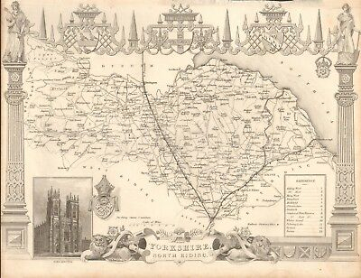 1840 Antique Map - Yorkshire, North Riding By Thomas Moule