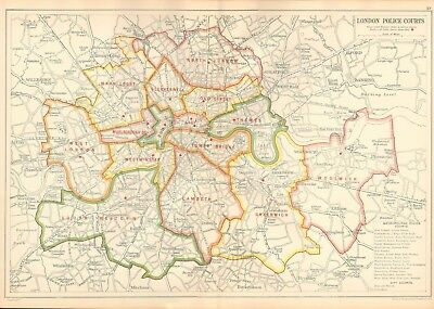 1912 Ca LARGE SCALE BACON STREET MAP- LONDON - LONDON POLICE COURTS