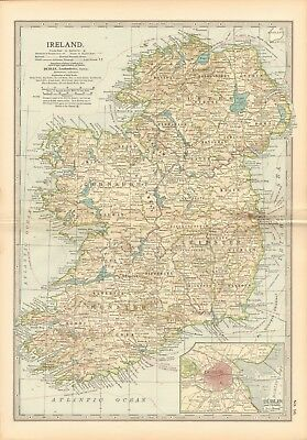 1903 Antique Map- Ireland, Dublin