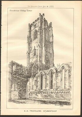 1883 Antique Print- Architecture - Yorkshire - Fountains Abbey Tower
