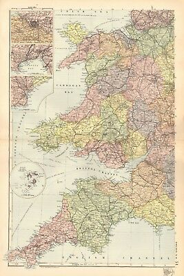 1895 Antique Map - England And Wales, South West, Wales, Cornwall