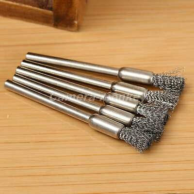 "UK 15PCS Steel Wire Wheel Pencil Brushes 3.17"" Shank Grinder Drill Rotary Tool"