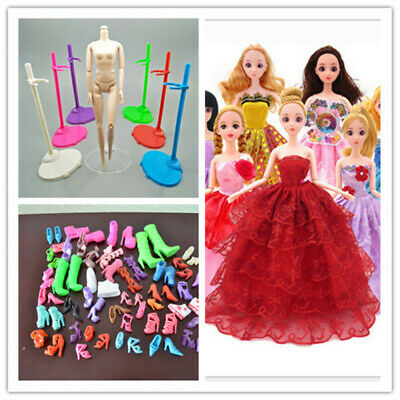 20pcs/lot Barbie Clothes+Shoes+ Doll Stand Display Holder For Barbie Dolls